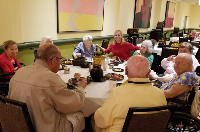 Senior home evacuees sent to a hotel to hide from Hurrican Irma. Kristen Bell happened to be staying there and decides to keep them company