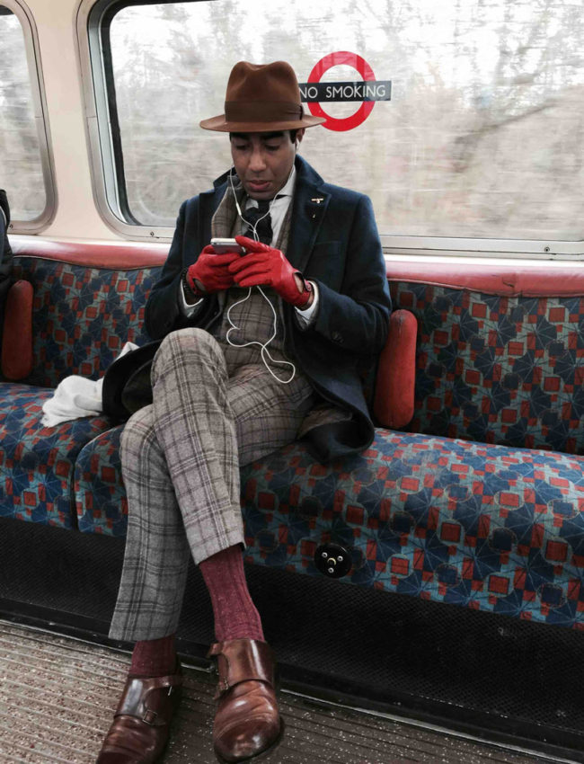 Most stylish man on the tube