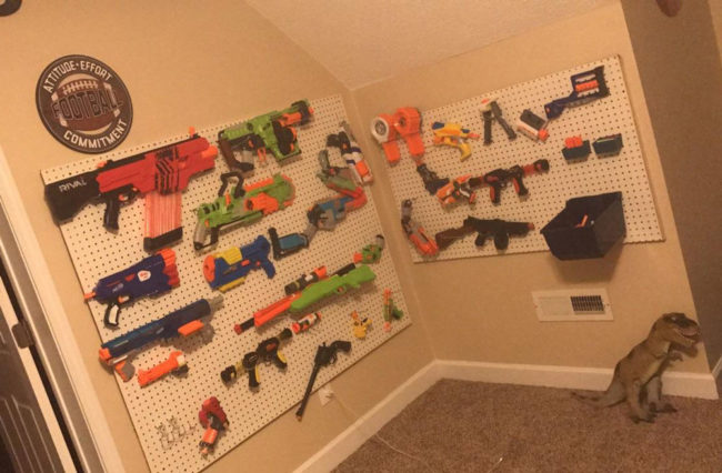My little bro loves Nerf guns, we built him this for his wall in his room
