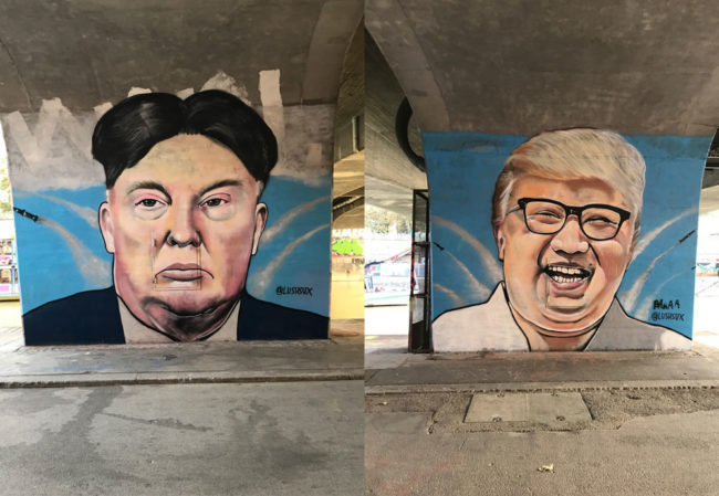Trump & Kim Jong-un hairswap graffiti in Vienna