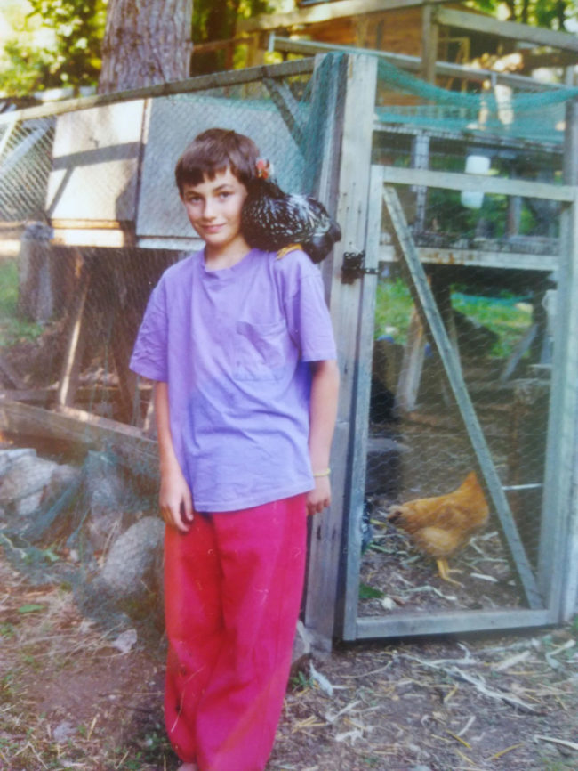 When I was a kid I had a pet rooster called Stanley, who I trained to sit on my shoulder. My mum dug up this photo of us the other day