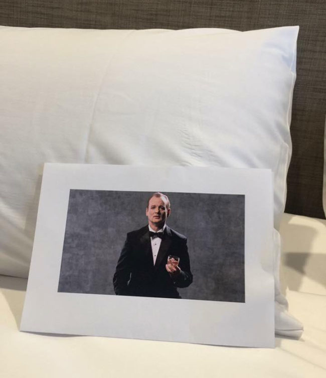 I always make special requests to hotels for pictures of Bill Murray and the one I'm currently staying at delivered