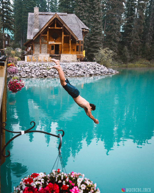 My friend taking a dive into Emerald Lake