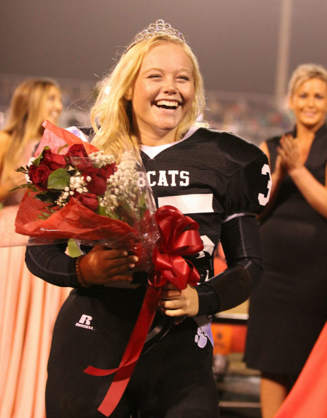high school in Michigan just elected its only female varsity football player as Homecoming Queen (she's a linebacker!)