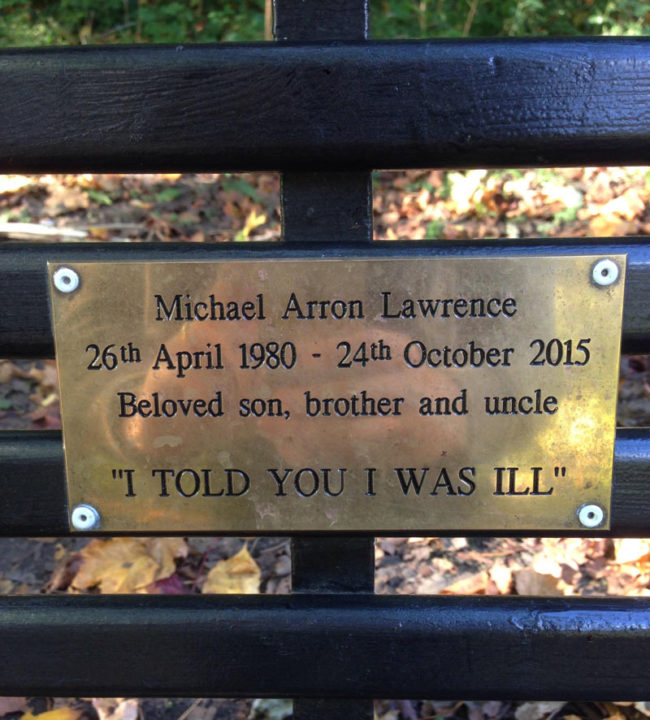 The memorial quote on this bench