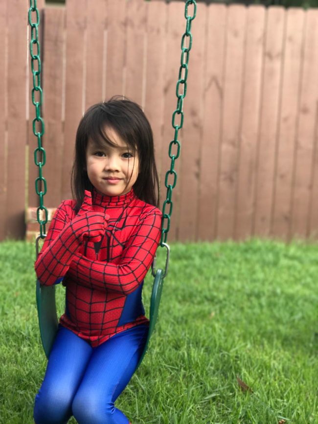 My daughter pulls off spider-man so well