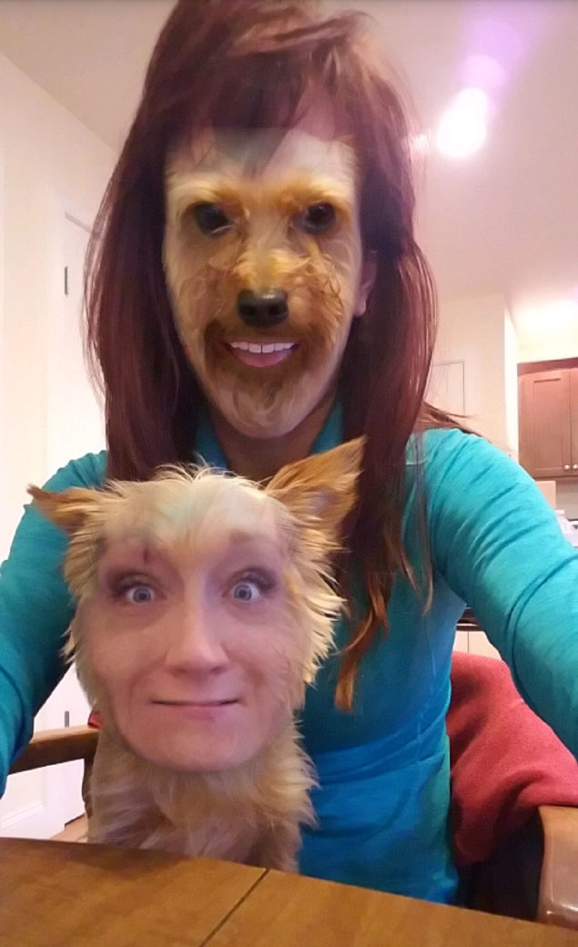 This Snapchat face swap with my Yorkie is absolutely terrifying