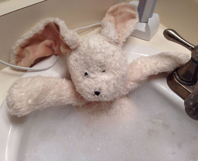 Single dad, daughter asked me to give her stuffed bunny a bath. She's at her mom's so I sent her this