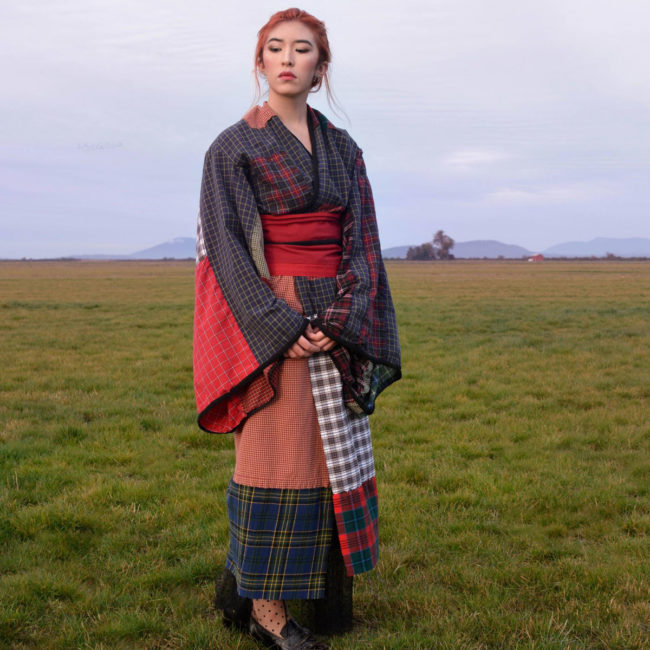 I am half Scottish and half Japanese- I hand-sewed this kimono from men's dress shirts and boxer shorts