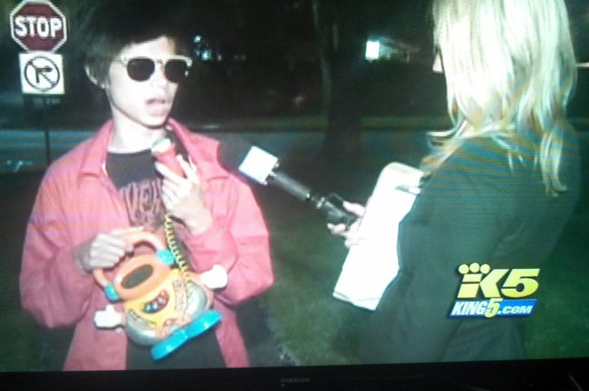 This kid got caught drinking at a party was interviewed by a local news station, he brought his own microphone...