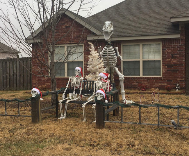My neighbors just added Santa hats to their Halloween decorations