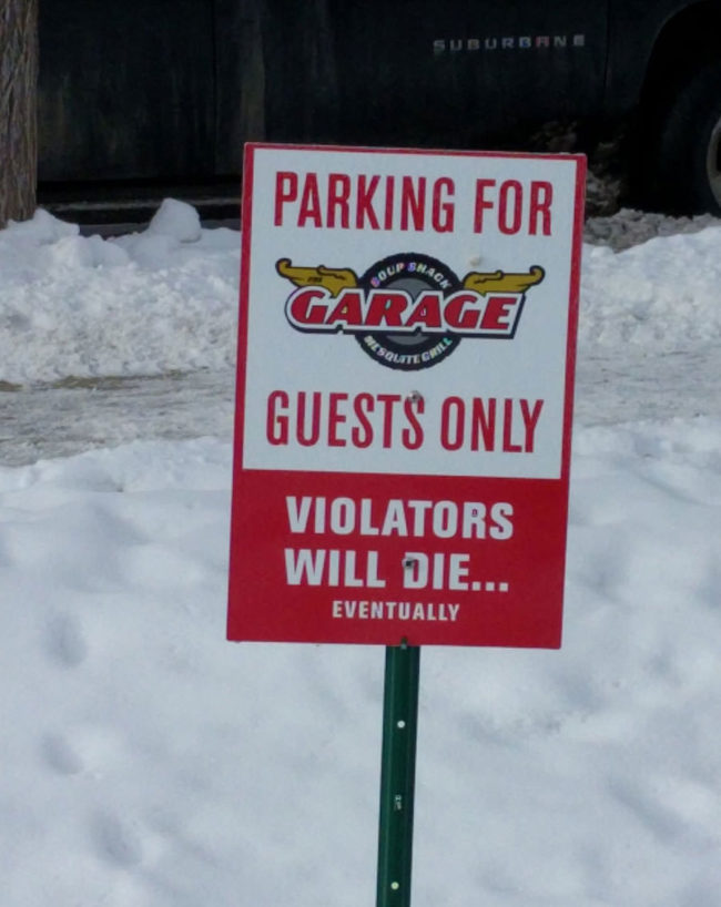 A local restaurant takes parking seriously