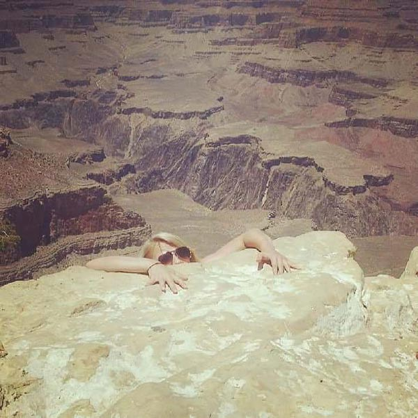 Wife and I visited the Grand Canyon. Her mother is a worry wort and told us to be careful, so she sent her this