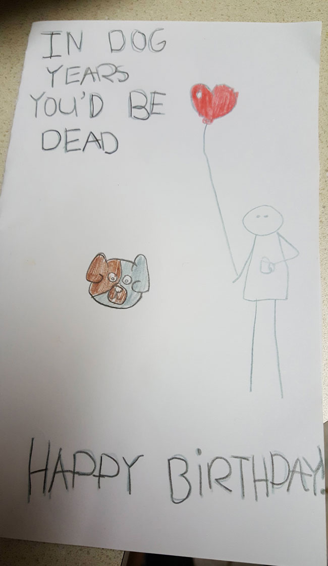 My girlfriend's daughter made me a birthday card