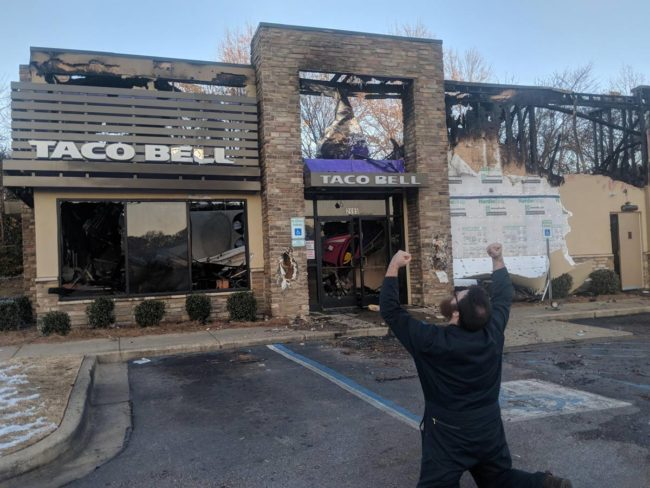 The 24 hour Taco Bell that got me and my friends through college tragically burned down last night. We're coping the best we can