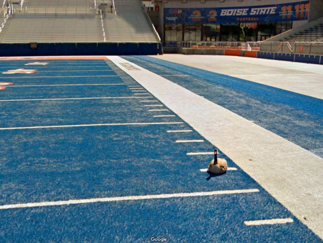 We have a blue football field. It confuses out-of-towners