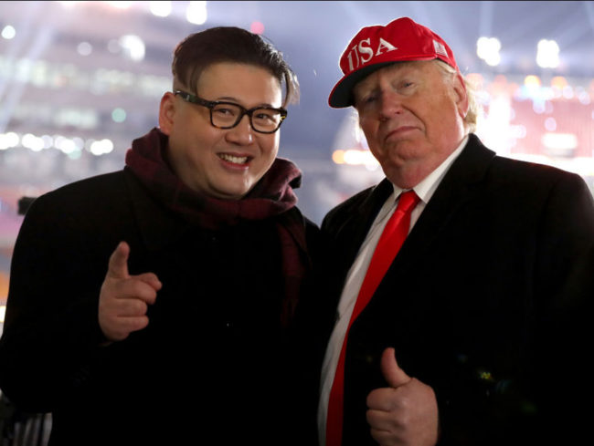 Donald Trump and Kim Jong-un impersonators thrown out of Winter Olympics opening ceremony