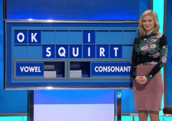 Rachel Riley struggling to contain a chuckle on yesterday's show after this was spelled out