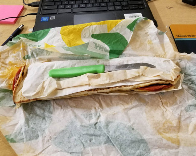 Opened my Subway, looks like the poor prison guy only got a sandwich