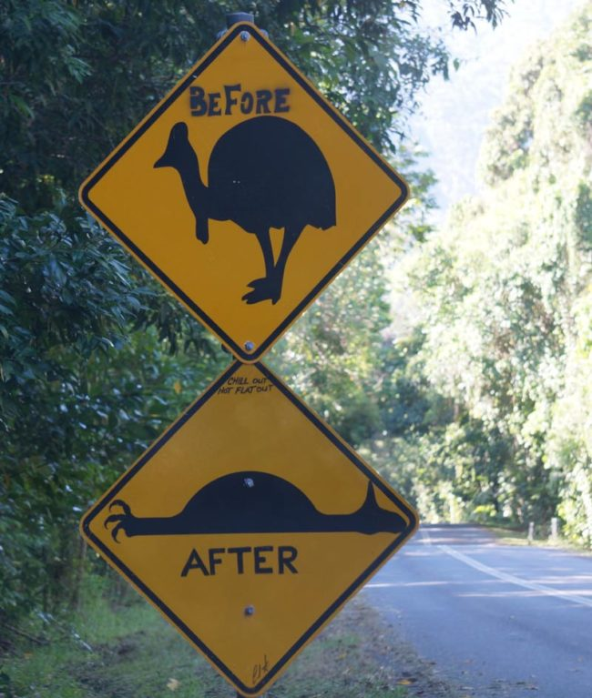 This road sign north of Cairns, Australia