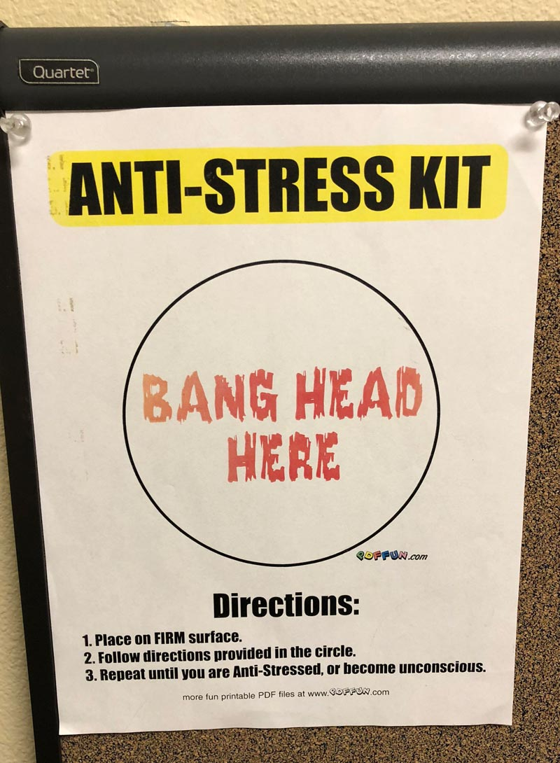 Anti-stress kit on a doctor's office wall