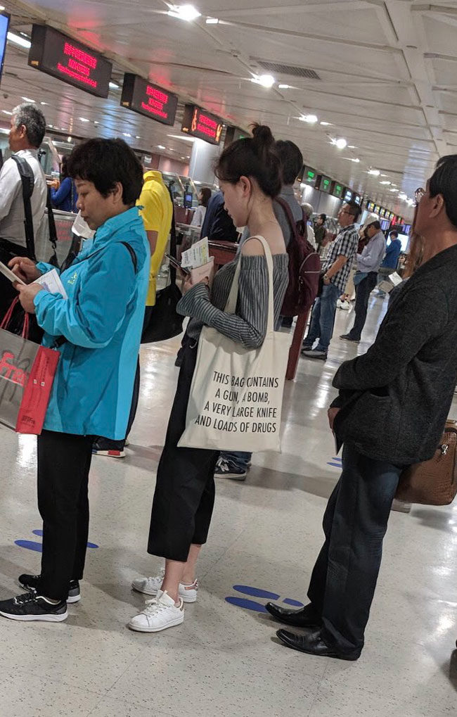 On a recent trip to Taipei, a friend captured this in the security line.. At least it's not something truly heinous like nail clippers