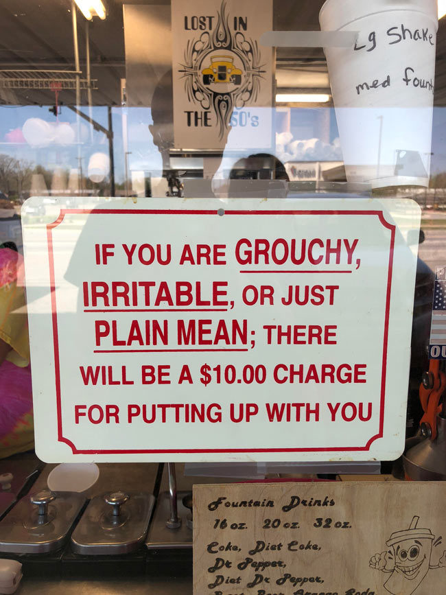 An actual sign at an ice cream shop I visited