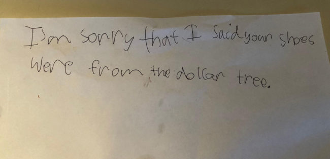 My Godson's apology note..