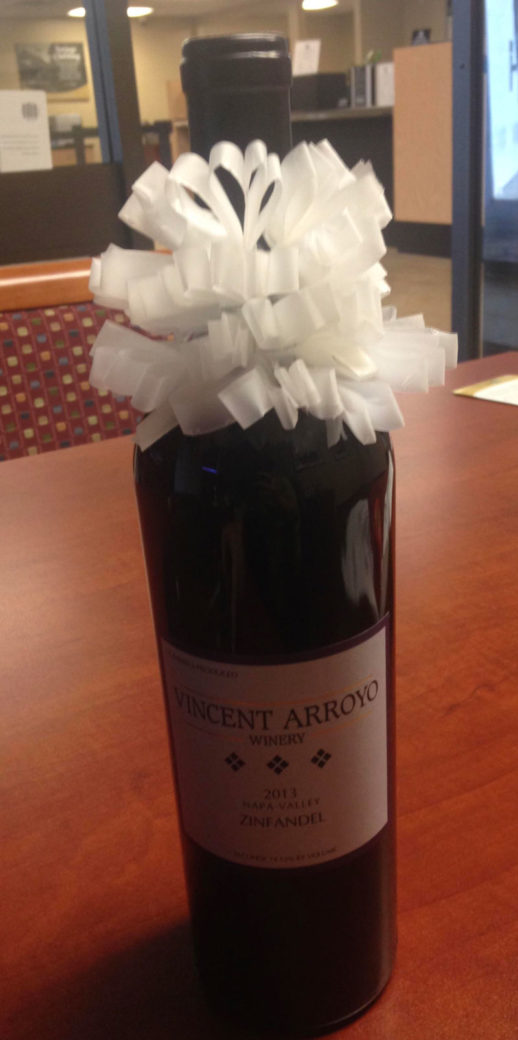 My boss hates scotch tape and loves wine. This was my retirement gift for him