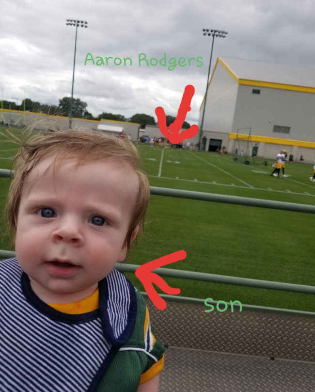 My son got his picture taken with Aaron Rodgers today!