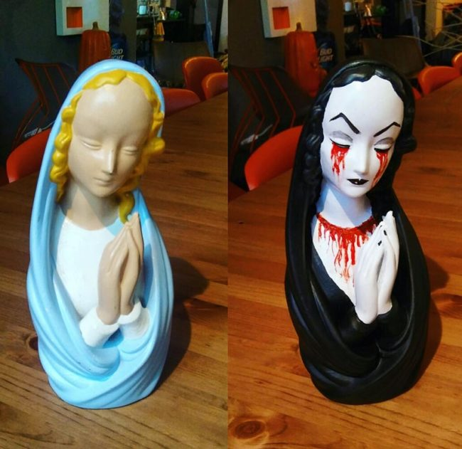 Turned this free statue from a flea market into my new Halloween decoration