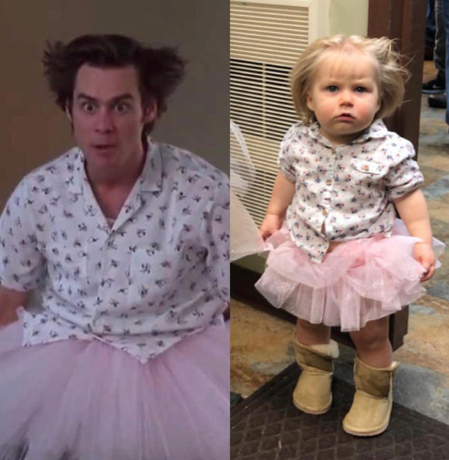 My one year old girl as Mental Hospital Ace Ventura