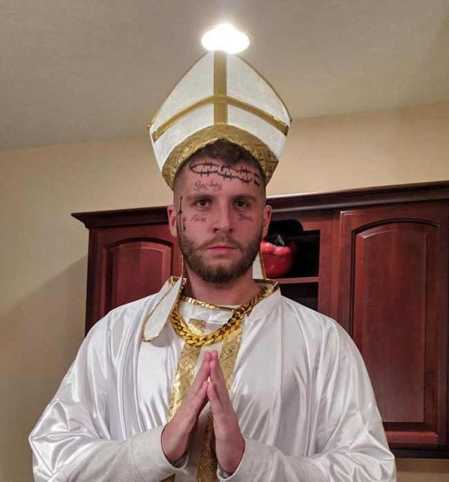 I went as Pope Malone for Halloween