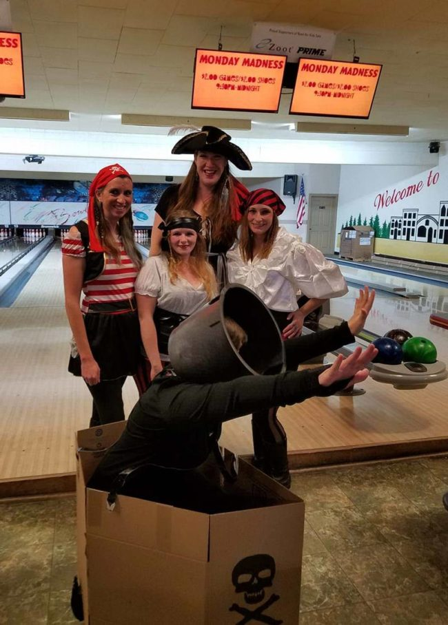 My wife went to a pirate themed charity bowling event, but decided last minute she didn't want to dress like a pirate, since she figured everyone else would be. So she went as a cannon