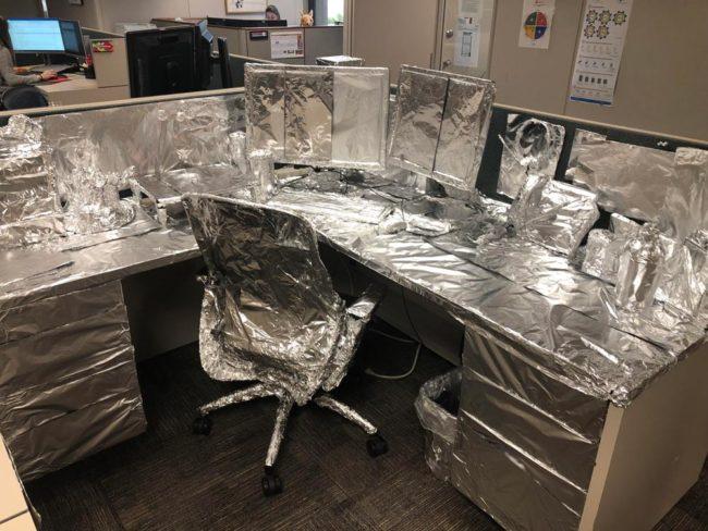 Came back from a long vacation to literally every single thing on my desk wrapped in tinfoil