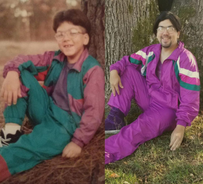 I found this tracksuit at Goodwill. Had to try and recreate this childhood photo circa 1993
