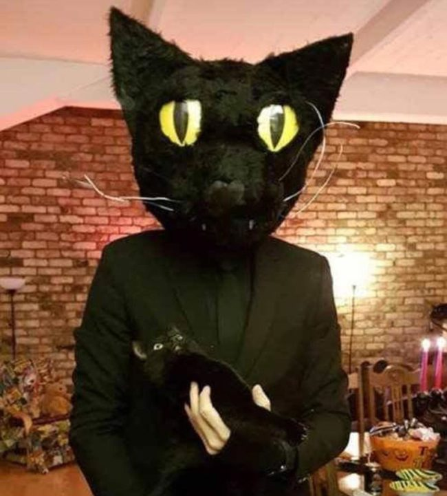 My buddy dressed up as his cat for Halloween, look at the cat's face..