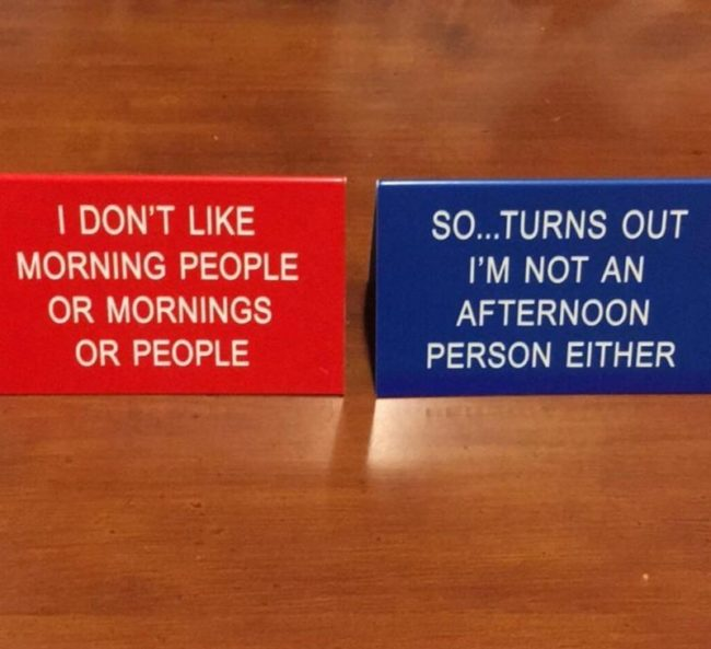 My desk signs help minimize office conversations