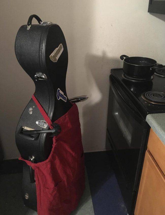 My friend is storing his cello at my place. I occasionally send him updates on how it's going