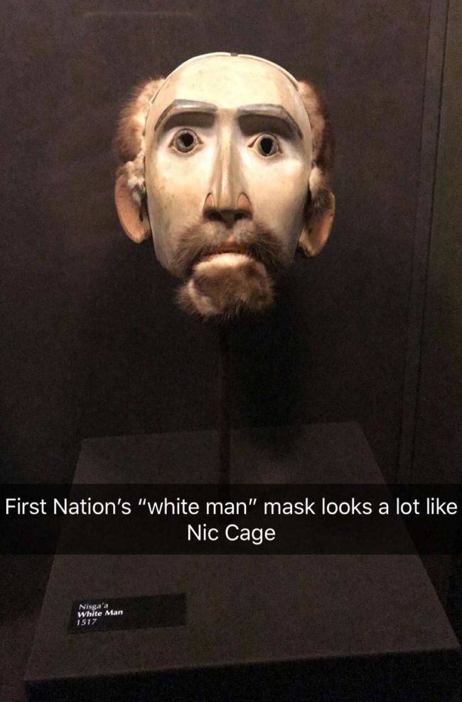 "First Nations ""White Man"" mask looks a lot like Nic Cage"