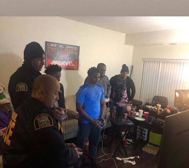 Minnesota's finest responding to a noise complaint ends in an epic Super Smash Brothers competition.