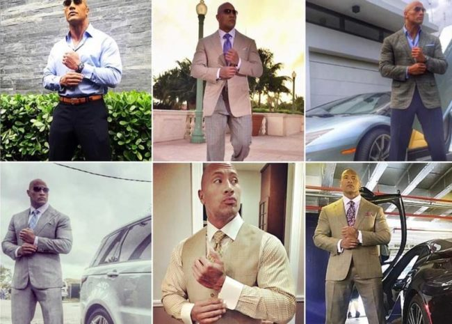 Will The Rock ever finish buttoning his sleeve?