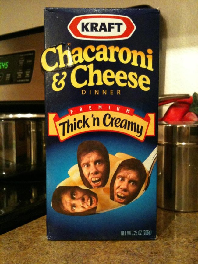 Years ago without photoshop, I convinced my 5 year old there were bits of chaka meat in his mac'n cheese