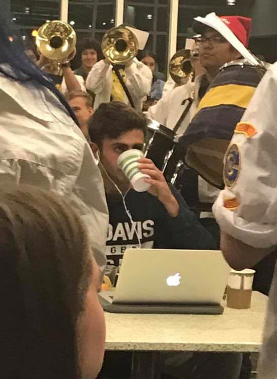 When you finally find a quiet study spot but your university band has other plans