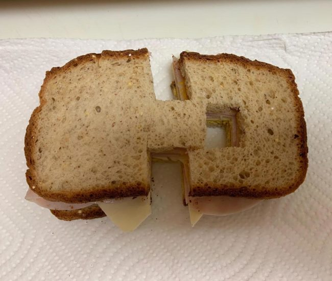 My daughter hates it when her sandwich isn't cut perfectly in half. My wife had to up her game to annoy her