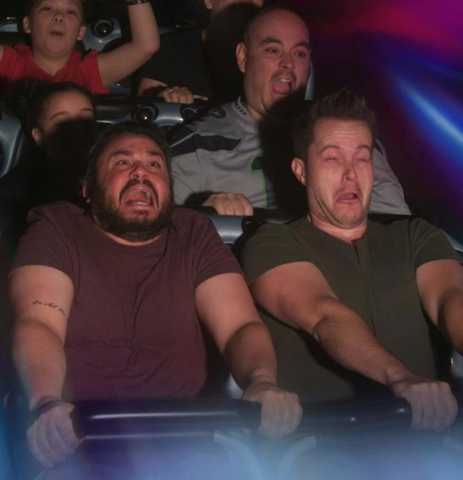 My friend and I randomly decided to take edibles and go to Disneyland. We got funny photos on every ride we could. This is my favorite