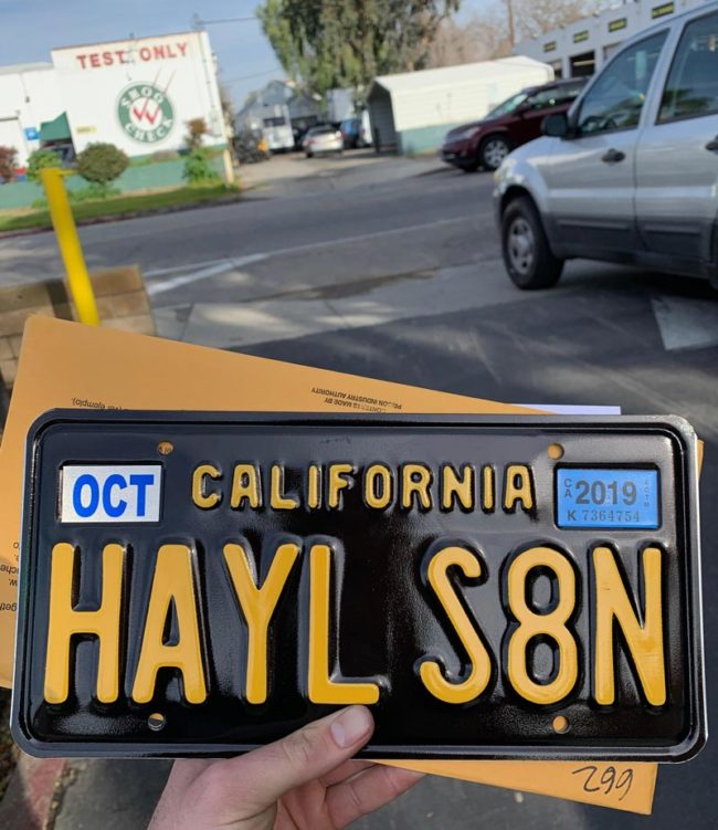 Buddy of mine just picked up his license plate