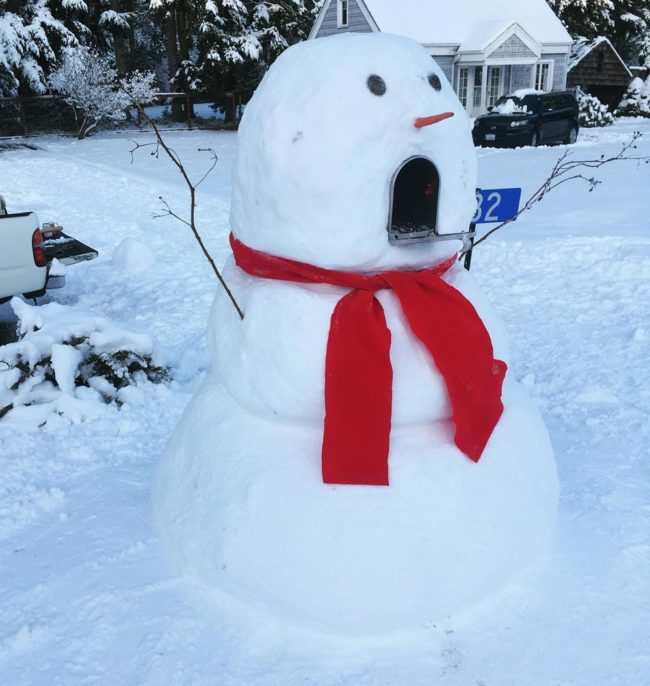 Mailbox snowman my wife made while I was at work