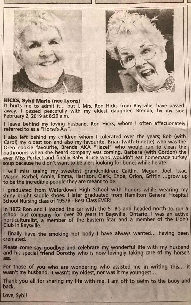 This woman's obituary (Hamilton Spectator) proves that in death, she is funnier than I am in life...