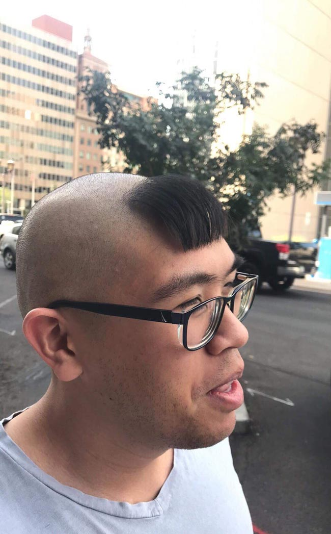 My friend lost a bet where I could choose his haircut for the next month. This is the result